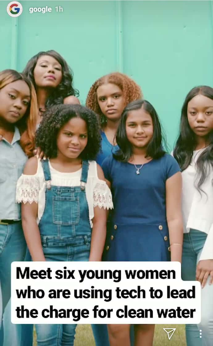 Instagram Story by Google previewing listicle blog post about women in tech