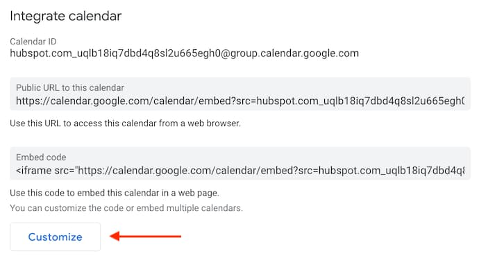 Customize button inside Google's integrate calendar settings.