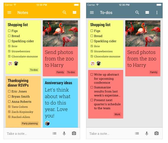 Google Keep to do list app