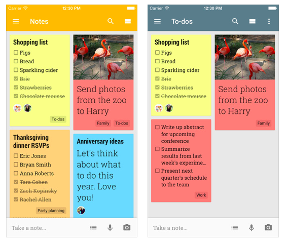 Google Keep to do list app