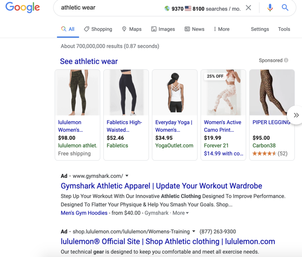 "Google paid results for query ""athletic wear."""
