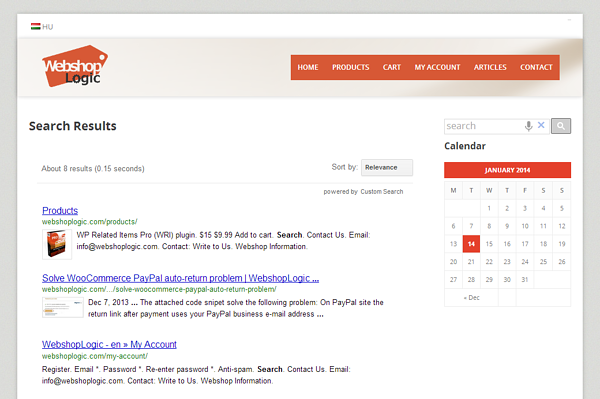 google search on a wordpress site sample page