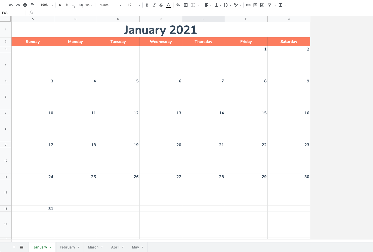 Google Sheets calendar January to May