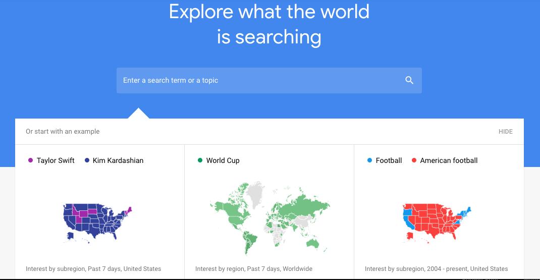 Google Trends keyword research tool.
