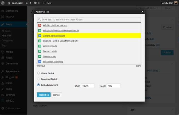 google drive wordpress plugin browsing through files demo