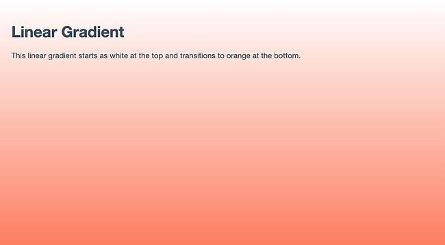 Linear gradient as a background color in an HTML web page