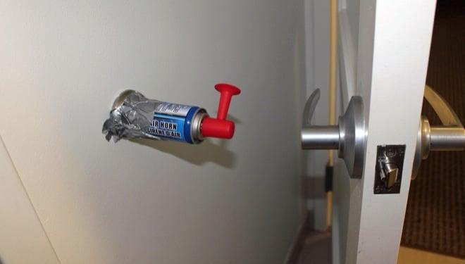 Office prank with foghorn on door bumper