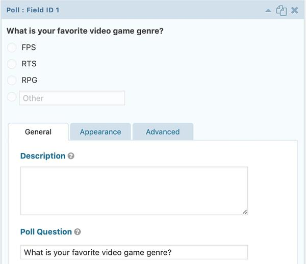screenshot of gravity forms poll add-on showing survey question functionality