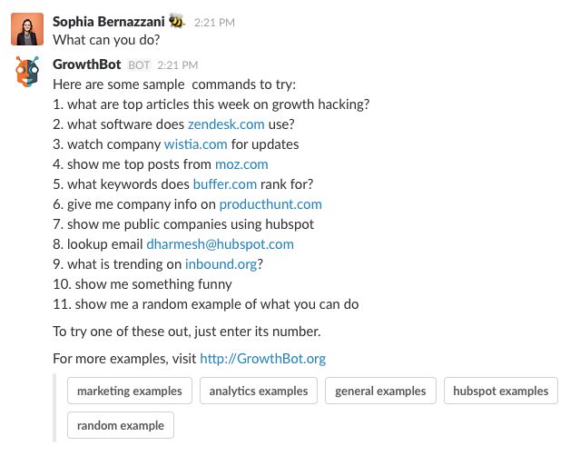 HubSpot's GrowthBot conversation in Slack