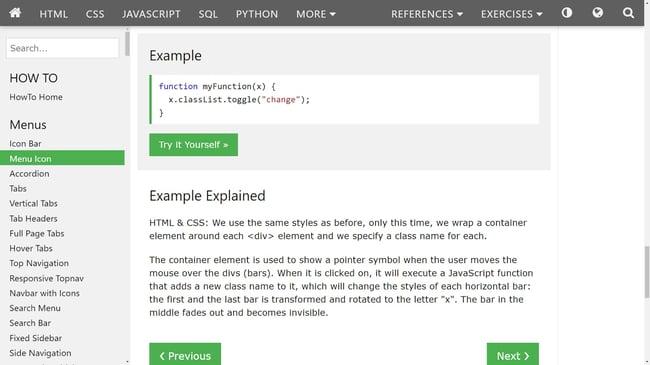 a hamburger button tutorial from w3schoolsL javascript code