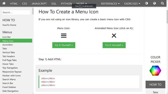 a hamburger button tutorial from w3schools