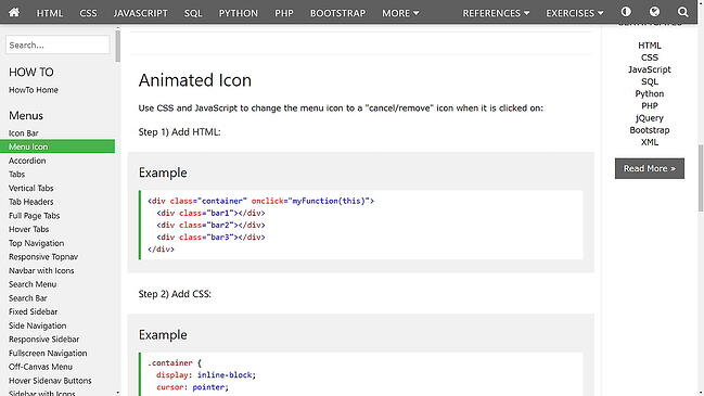 a hamburger button tutorial from w3schools: html code