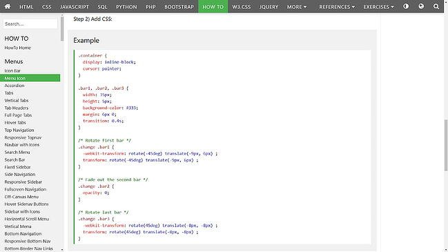a hamburger button tutorial from w3schools: css code