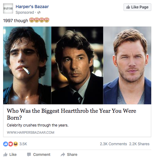 asking a question Facebook ad
