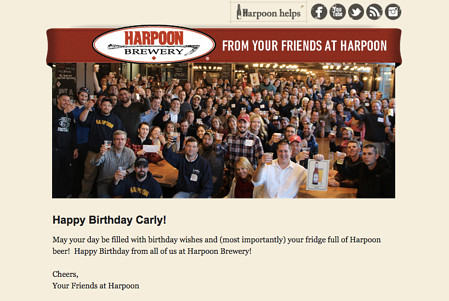"""Email Marketing Campaign Example: Harpoon Brewery - """"Happy Birthday Carly!"""""""