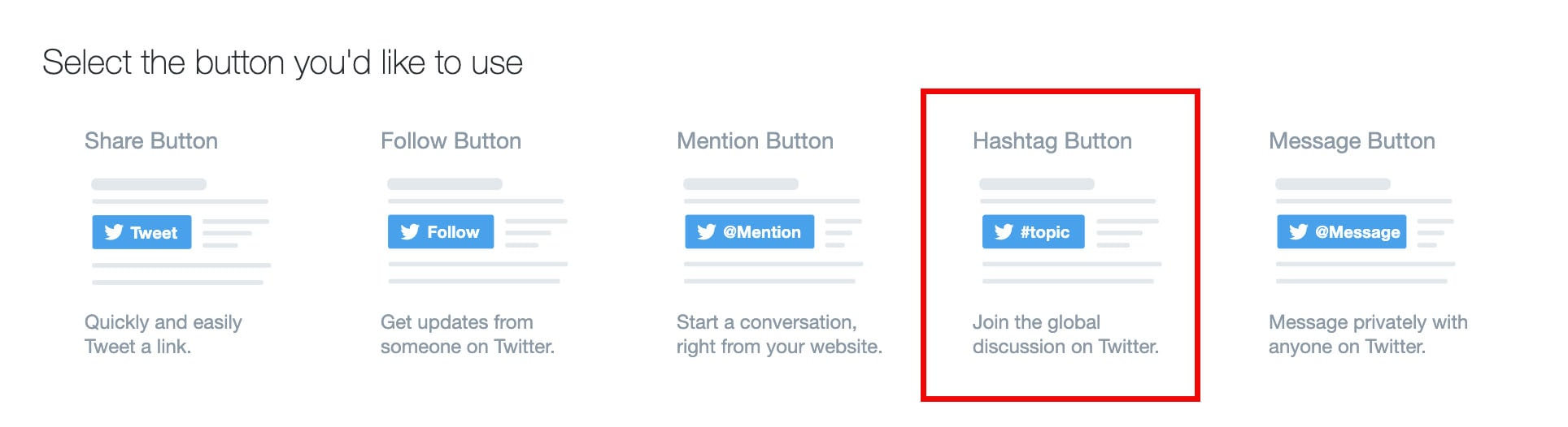 hashtag button on twitter developer page
