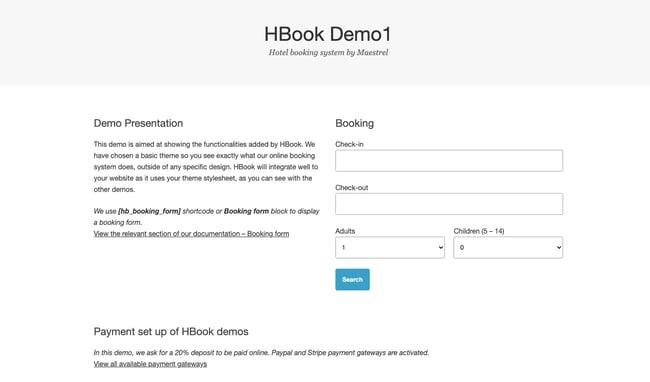 WordPress hotel booking plugin by HBook