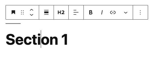 Gutenberg block toolbar for an H2 heading