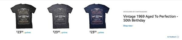 Shirt Invaders Amazon Headline Search Ads Above Search Results.