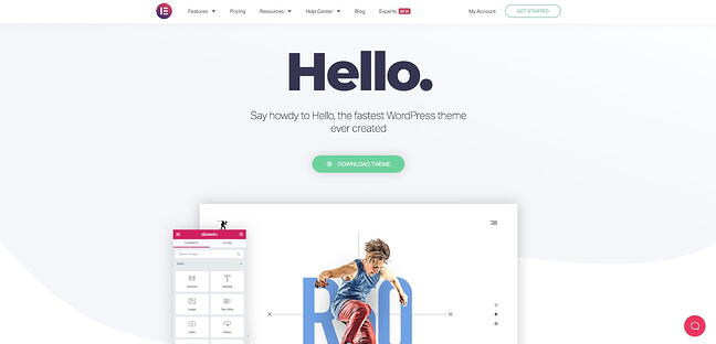 Hello Elementor drag-and-drop theme home page
