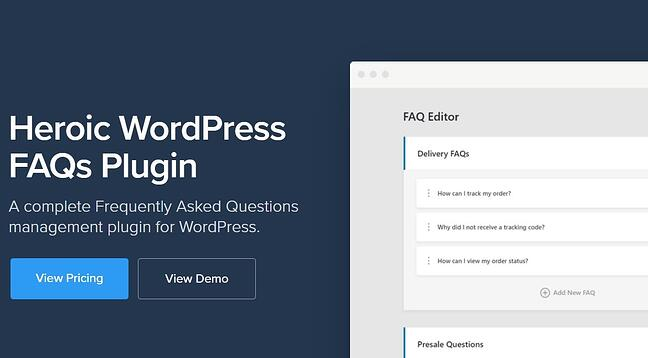 heroic FAQ plugin download screen with buttons to view pricing and view a demo