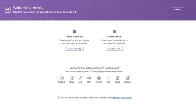 Dashboard in Heroku, a PaaS (platform as a service) tool