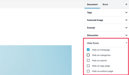 """Hide posts from homepage in WordPress in the """"Hide Posts"""" section in the right column of the editor using the WP Hide Post plugin"""