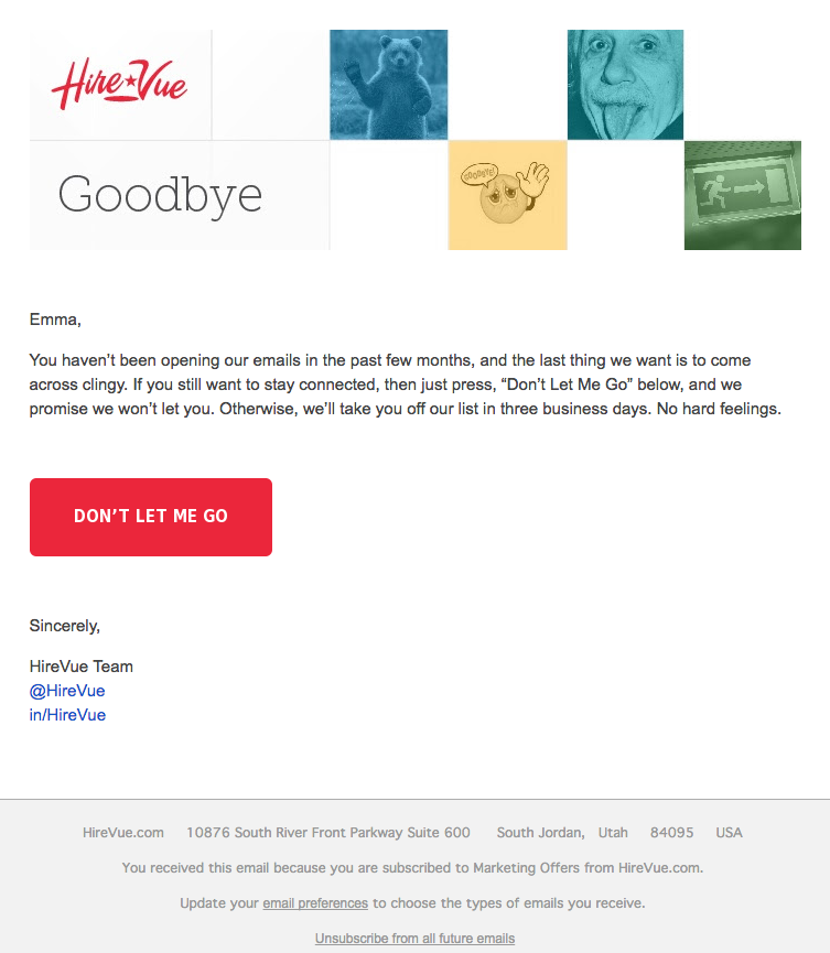 HireVue email marketing campaign example focused on customer loyalty