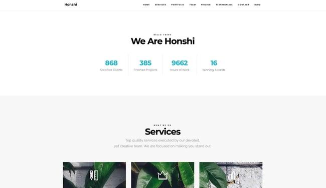 One-page WordPress theme demo for Honshi