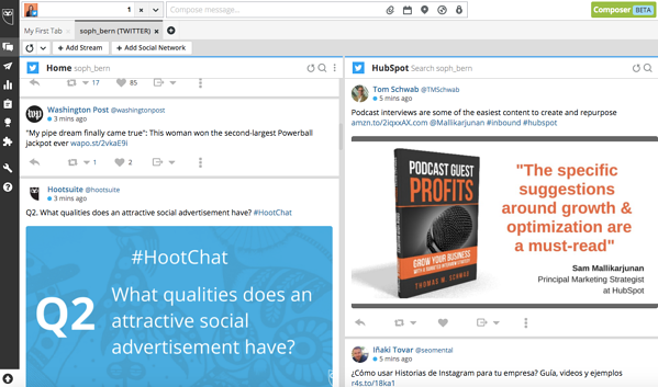 Social media monitoring and publishing dashboard by HootSuite