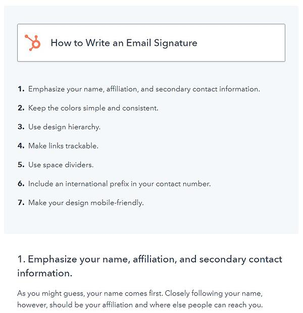 "example of a how-to blog post format that has the title ""how to write an email signature"" with the steps displayed underneath it"