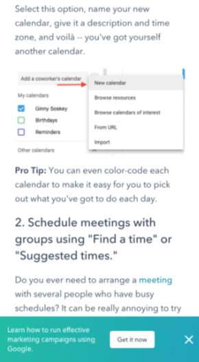 variant C of the hubspot mobile CTA AB test