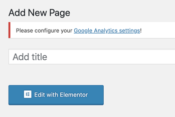 how to edit new page with Elementor