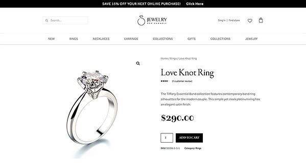 "Product page example built with Elementor and containing the image of a ring and the heading ""Love Knot Ring"""