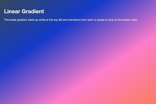 HTML background gradient with blue, pink, and orange color stops