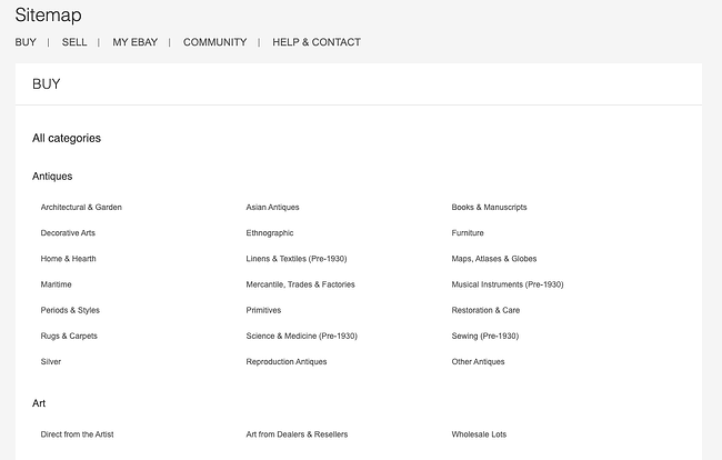 An example of an Ebay HTML sitemap that shows the structure of that site