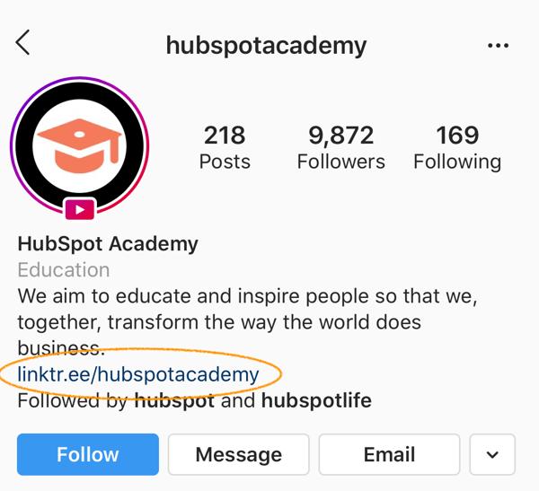 hubspot academy instagram conversions linktree link in bio-2