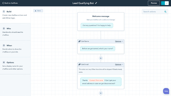 Chatbot Builder with AI Integration - HubSpot