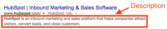 Example of a site's description on the SERP.
