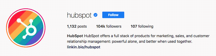 Hubspot's Instagram profile picture with rainbow background for Pride Month
