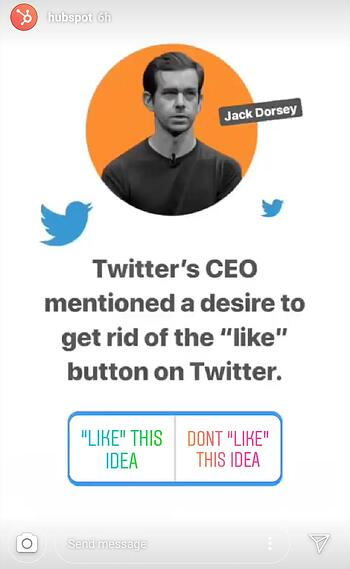 Instagram Story by HubSpot breaking news about Twitter CEO Jack Dorsey with polling sticker