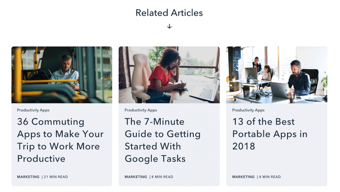 Related Articles internal linking strategy on HubSpot's pillar page