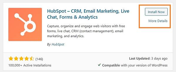 install now button on hubspot live chat plugin
