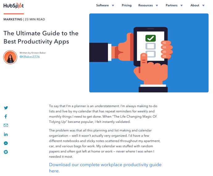 Pillar page on productivity apps by HubSpot