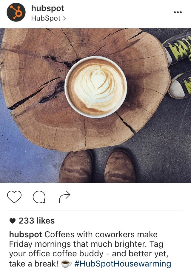 Instagram caption by HubSpot with call-to-action to tag a friend in the comments