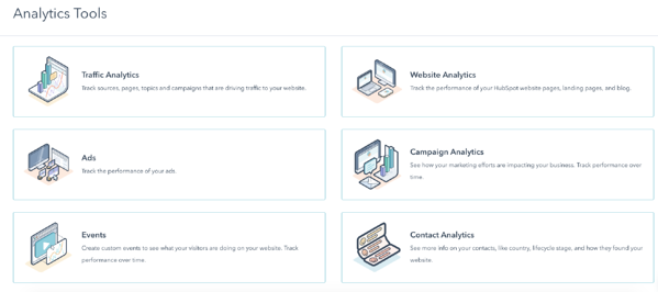 HubSpot analytics tool can build reports for marketing, sales, and service.