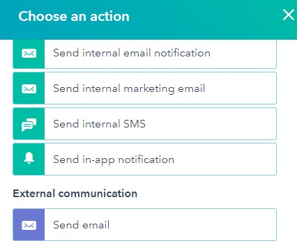 hubspot workflows choose an action prompt