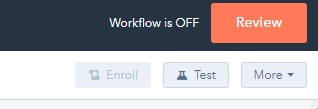 hubspot workflows test button