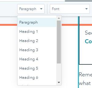 applying heading tags using HubSpot's blog editor