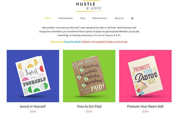 Example of brand identity with images of the Hustle & Hope brand's cards